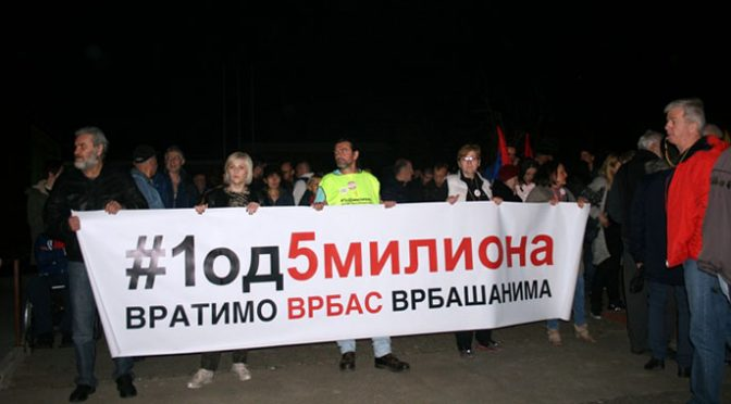 """Šesti protesti """"Jedan od 5 miliona"""" u Vrbasu"""