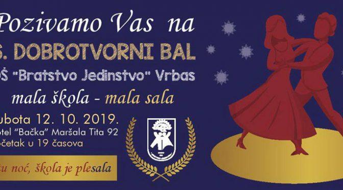 """OŠ """"Bratstvo jedinstvo"""" 12. oktobra organizuje šesti Dobrotvorni bal"""