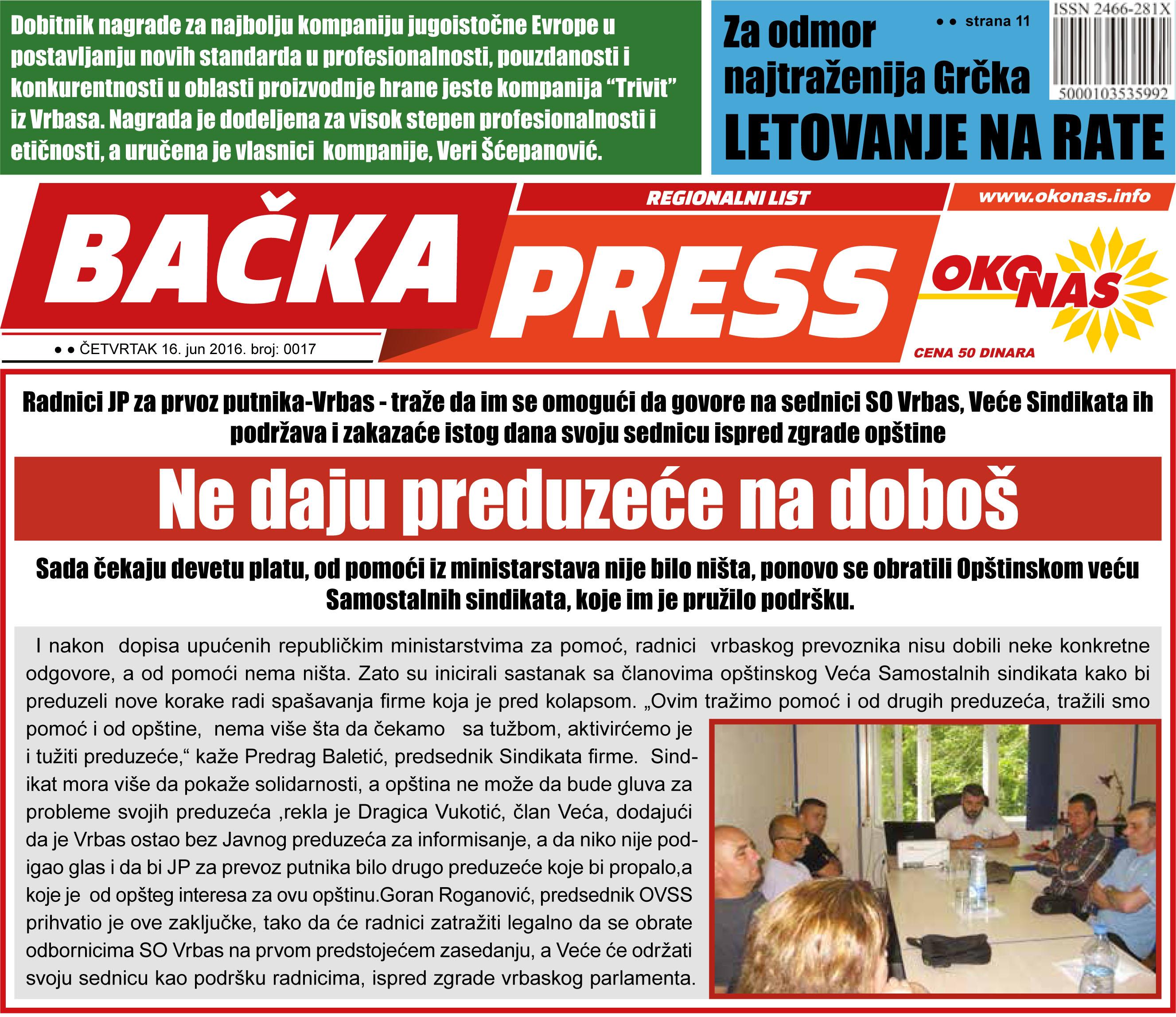 Novi, 17. broj lista Bačka press